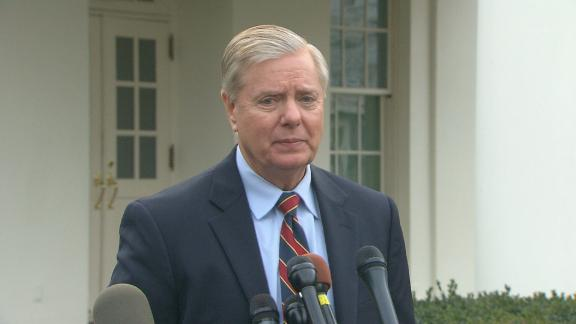 Sen. Lindsey Graham speaks to the media following a lunch/meeting with President Trump.  Timecode:  15:18:18;22 - 15:31:18;04