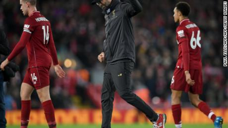 Liverpool manager Jürgen Klopp celebrates following his team's win over Arsenal.