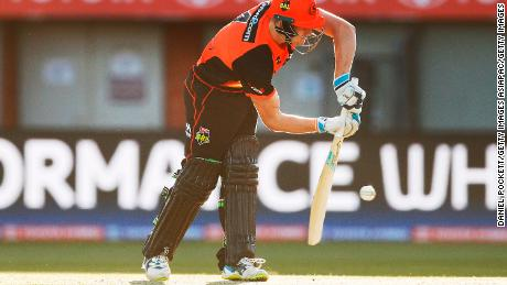 Cameron Bancroft of Perth Scorchers bats during the Big Bash League match against the Hobart Hurricanes.