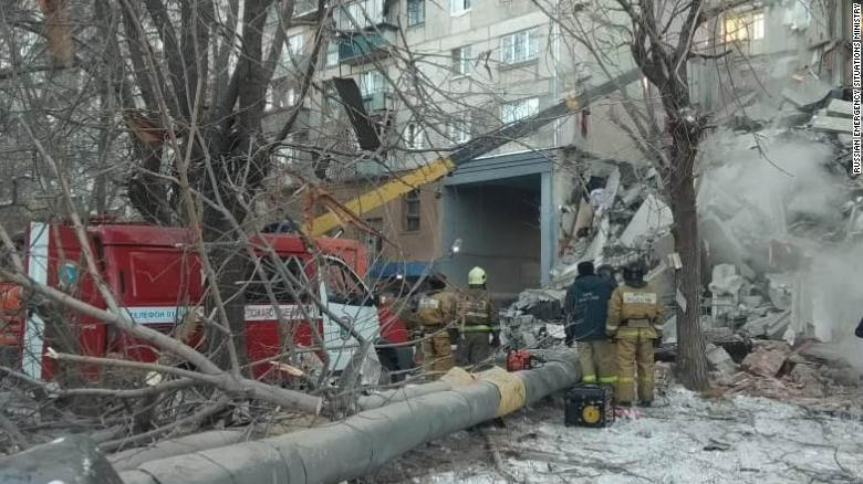 The collapsed building in Magnitogorsk.