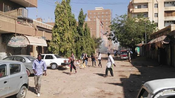 Police fired tear gas at protesters demonstrators in Khartoum in December.