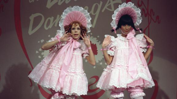 "Burnett, left, and Cher perform a skit on ""The Sonny & Cher Comedy Hour"" in 1972."