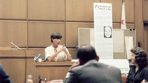 Burnett takes the stand in 1981 after suing the National Enquirer for libel. She said the tabloid, in one of its gossip columns, incorrectly implied that she was drunk and had an argument with US Secretary of State Henry Kissinger at a Washington restaurant in 1976. The court ruled in Burnett's favor.