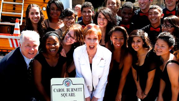Carol Burnett Square was unveiled in Los Angeles in front of her alma mater, Hollywood High School, in 2013.