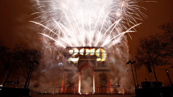 Fireworks explode during the New Year's celebrations at the Arc de Triomphe in Paris, France, January 1, 2019.