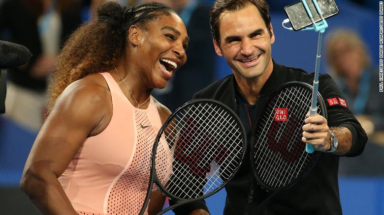 A very special selfie. Serena Williams and Roger Federer strike a pose after their historic clash at the Hopman Cup in Perth.