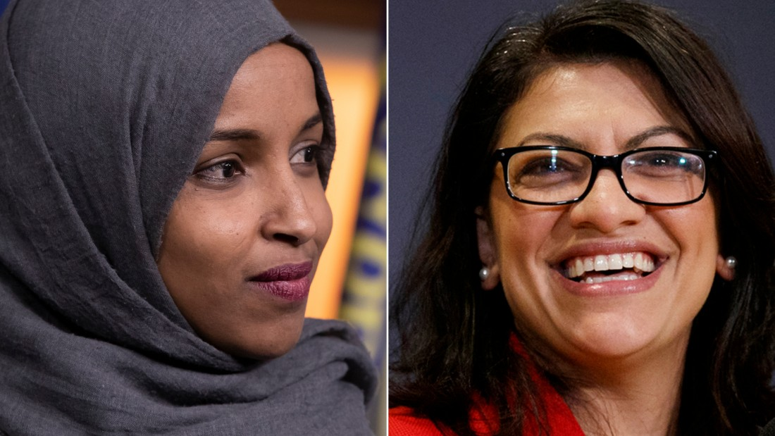 """This combination of 2018 photos shows Reps.-elect Ilhan Omar, D-Minn., left, and Rashida Tlaib, D-Mich., in Washington. On Friday, Dec. 21, 2018, The Associated Press has found that stories circulating on the internet that three Muslim congresswomen refused to sign the oath of office to uphold the U.S. Constitution, are untrue. Representatives for both Omar and Tlaib described those claims as """"categorically false."""" The two became the first and only Muslim women elected to Congress in 2018. (AP Photo/Carolyn Kaster, File)"""