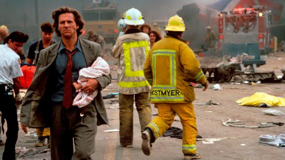 "Bridges' character carries a baby in the 1993 film ""Fearless."""