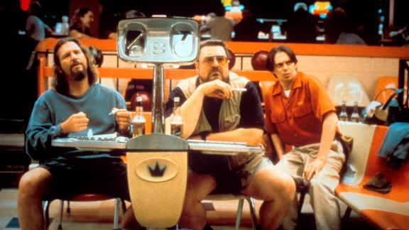 "Bridges appears in a scene from ""The Big Lebowski"" along with John Goodman, center, and Steve Buscemi in 1998."