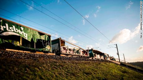 A damaged freight train at the Great Belt Bridge on Wednesday.