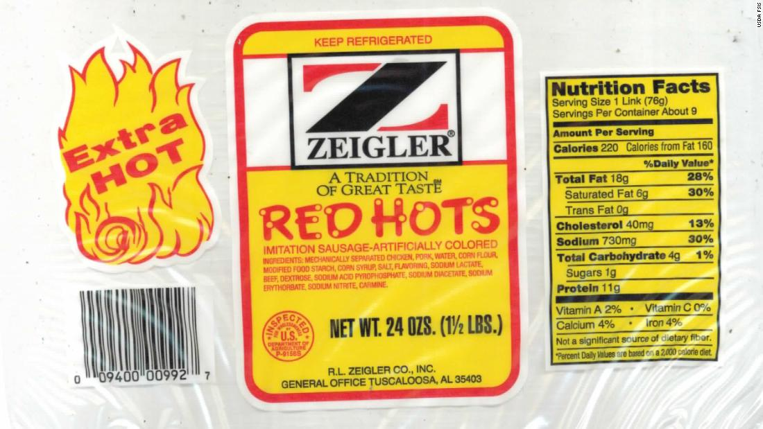 Zeigler Red Hots sausages recalled, may contain metal