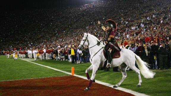 The USC Trojans horse mascot Traveler rides on the field during a game on November 25, 2006.