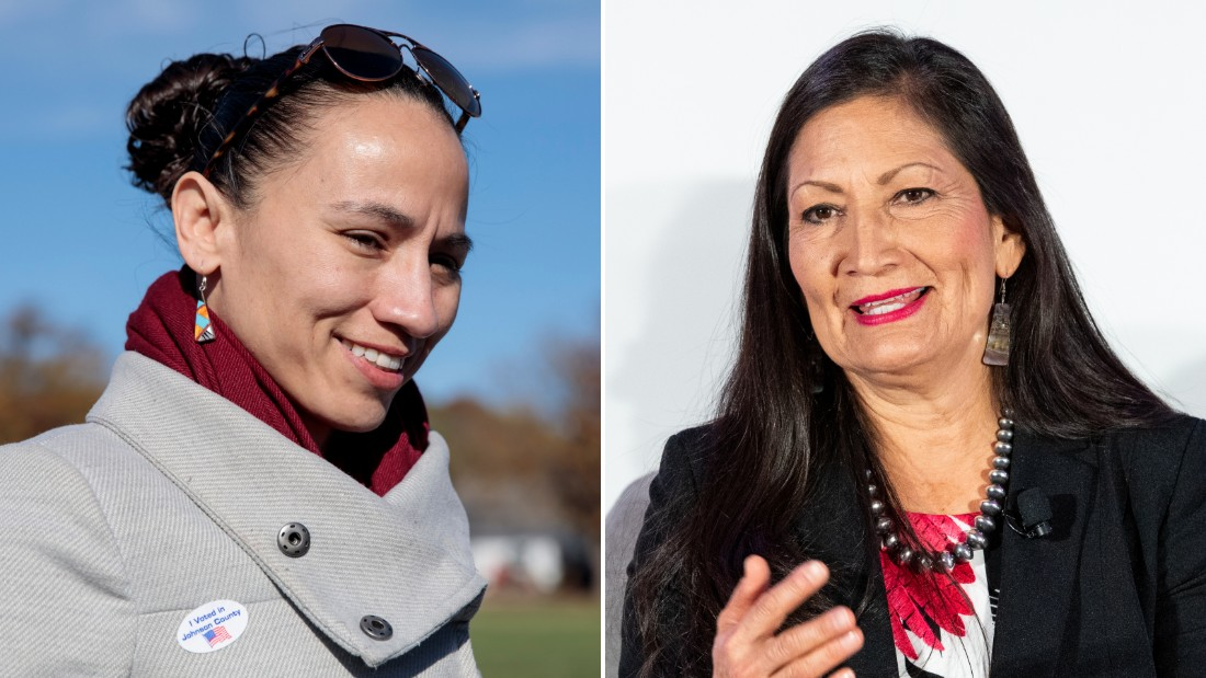 Rep.-elect Sharice Davids of Kansas (at left) and Rep.-elect Deb Haaland (at right) of New Mexico are pictured.