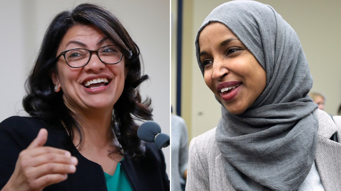 Reps.-elect Rashida Tlaib of Michigan (at left) and Ilhan Omar (at right) of Minneosta are pictured.