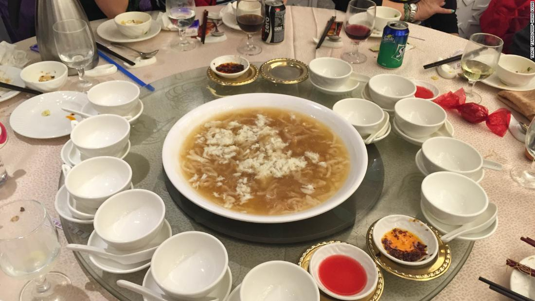 Shark fin soup is served in a birthday banquet in Hong Kong.