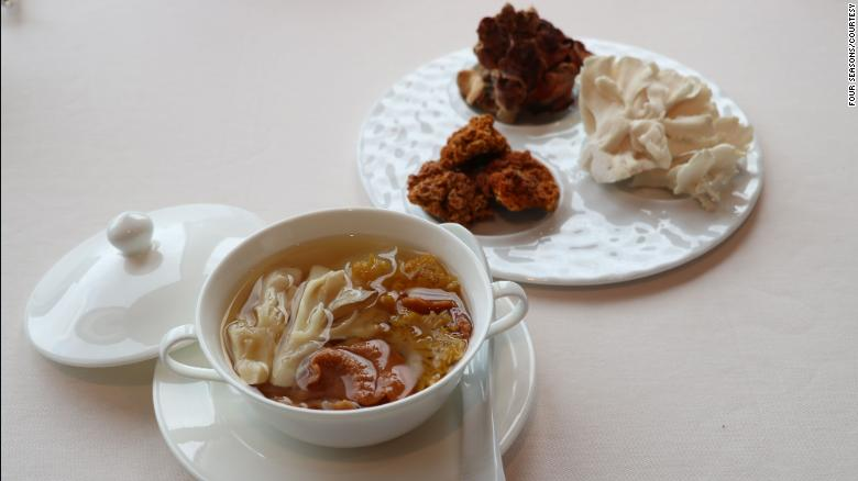 A replacement for Shark Fin Soup from Four Seasons, Double Boiled Maitake Mushroom soup.