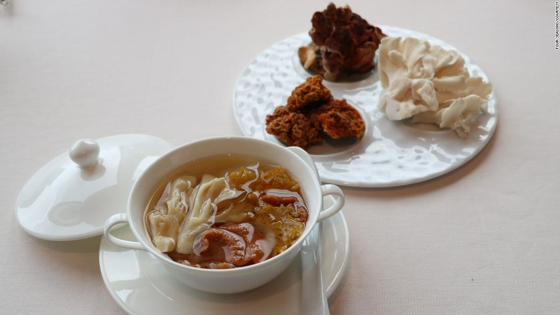 A replacement for shark fin soup from the Four Seasons: double-boiled maitake mushroom soup.