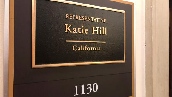 The nameplate for Rep. Katie Hill outside her office on Capitol Hill.