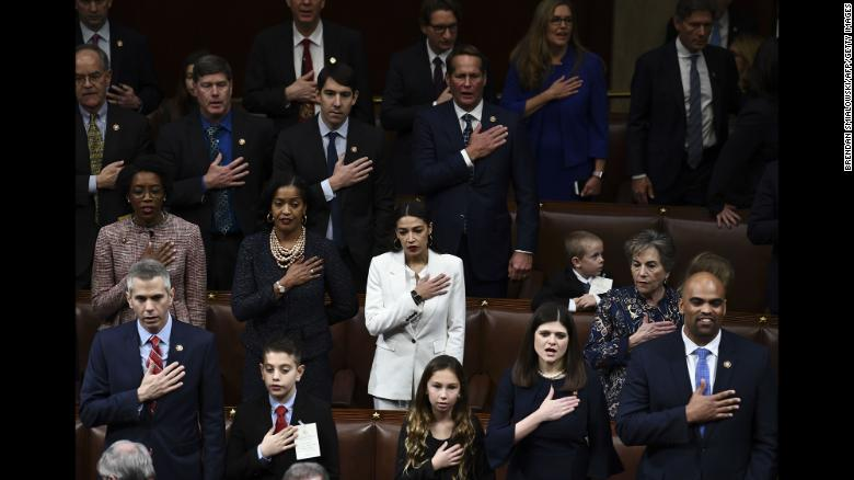 """Members of the new US Congress are sworn in at the US Capitol on Thursday, January 3. This new class broke barriers before its members even set foot in Washington. <a href=""""https://www.cnn.com/2019/01/03/politics/new-congress-history-women-diversity/index.html"""" target=""""_blank"""">Full story: No other Congress has ever looked like this</a>"""