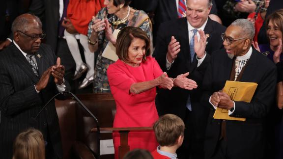Members of Congress congratulate newly elected Speaker of the House Nancy Pelosi (D-CA) during the first session of the 116th Congress at the U.S. Capitol January 03, 2019 in Washington, DC. Under the cloud of a partial federal government shutdown, Pelosi reclaimed her former title as speaker and her fellow Democrats took control of the House of Representatives for the second time in eight years. (Photo by Chip Somodevilla/Getty Images)