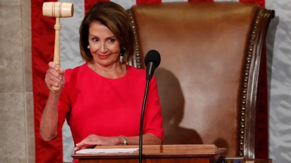 Nancy Pelosi (D-CA) raises the gavel after being elected as House Speaker as the US House of Representatives meets for the start of the 116th Congress inside the House Chamber on Capitol Hill in Washington on January 3, 2019.