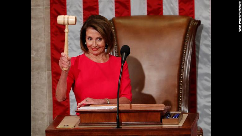 """Nancy Pelosi raises the gavel <a href=""""https://www.cnn.com/2019/01/03/politics/nancy-pelosi-house-speaker-vote-new-congress/index.html"""" target=""""_blank"""">after being elected as the new speaker of the US House of Representatives</a> on Thursday, January 3. The Democrat was also House Speaker from 2007 to 2011, and she is the only woman to ever hold the position."""