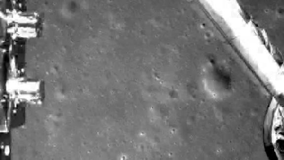 An image of the moon taken by the probe during its descent.