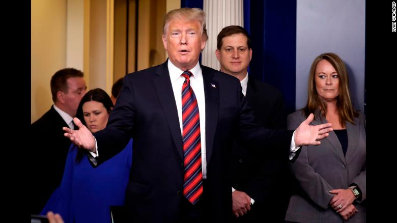 """US President Donald Trump <a href=""""https://www.cnn.com/politics/live-news/first-white-house-press-briefing-2019/h_545927a35316e9fadf3ad07999ea8904"""" target=""""_blank"""">appears in the White House briefing room</a> on Thursday, January 3, to introduce three Border Patrol Council members who spoke about the need of a border wall with Mexico. The President and Democrats <a href=""""https://www.cnn.com/2019/01/02/politics/donald-trump-shutdown-congress-meeting/index.html"""" target=""""_blank"""">are at odds over funding for a border wall,</a> and their inability to reach a deal has led to the partial government shutdown that started on December 22."""