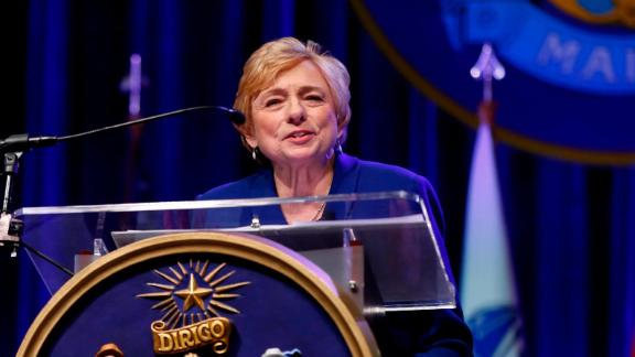 Gov. Janet Mills delivers her inaugural address after taking the oath of office, Wednesday, Jan. 2, 2019, at the Augusta Civic Center in Augusta, Maine. Mills, a Democrat, is the state's first female governor.