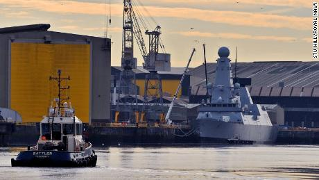 The British Type 45 destroyer HMS Duncan is shown at a Glasgow shipyard in 2015. One in every 200 UK jobs is defense related, the Defense Ministry says.