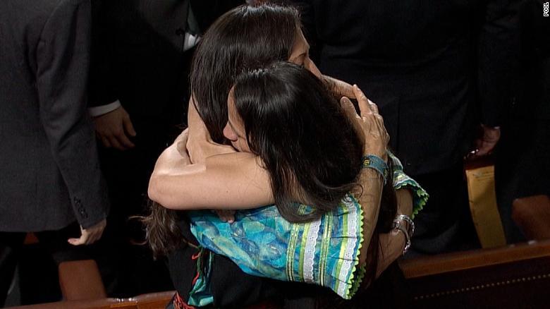 First Native American Congresswomen Hug After Swearing In Cnnpolitics