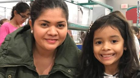 Salvadoran migrants Cindy Madrid, left, and her daughter, Alison Ximena Madrid, were reunited in Houston in summer 2018.