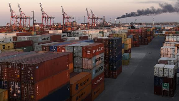 Containers are seen in a terminal at the docks in Avellaneda, Buenos Aires, on September 6, 2018. - With Argentina's currency tumbling as interest rates and inflation soar, fears are growing that the country could be on the verge of default, but analysts say that remains unlikely despite economic fragility. Earlier this week, President Mauricio Macri announced plans to slash the country's bureaucracy and raise taxes on exports to calm battered financial and currency markets and get the economy back on an even keel. (Photo by Juan MABROMATA / AFP)        (Photo credit should read JUAN MABROMATA/AFP/Getty Images)