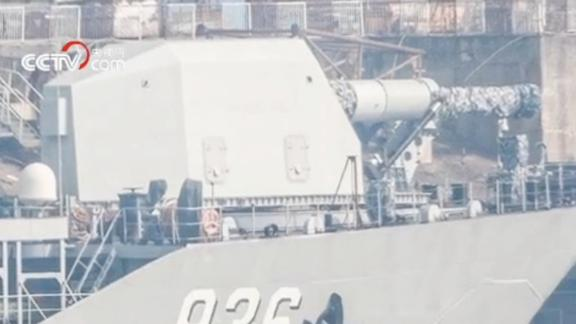 A screengrab from China state media CCTV purports to show railgun technology on a PLA Navy landing ship.