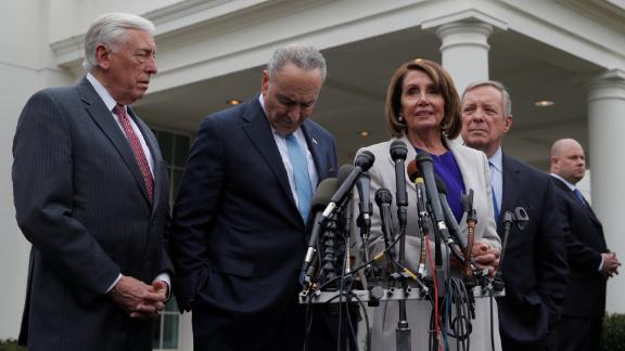 U.S. Speaker of the House Nancy Pelosi and Senate Minority Leader Chuck Schumer speak to reporters along with House Majority Leader Steny Hoyer (L) and Senate Minority Whip Dick Durbin (R) as they depart the West Wing after a meeting about the U.S. government shutdown between U.S. Congressional leaders and President Donald Trump at the White House in Washington, U.S., January 4, 2019. REUTERS/Jim Young