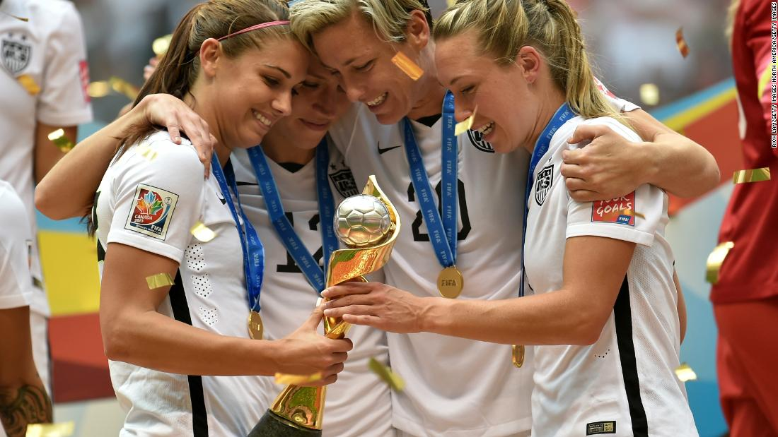 Wambach (center) with teammates after winning the World Cup in 2015.
