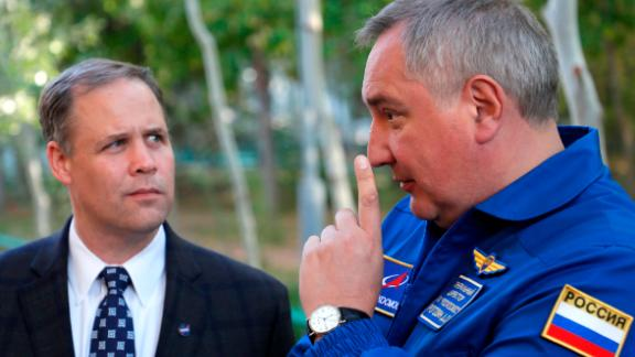 Director General of the Russia state corporation Roscosmos Dmitry Rogozin, right, talks with Administrator of the National Aeronautics and Space Administration (NASA) Jim Bridenstine in Russian leased Baikonur cosmodrome, Kazakhstan, Wednesday, Oct. 10, 2018.