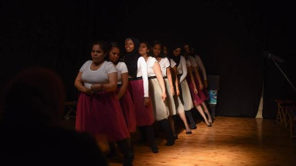 A performance organized by Bussy, a local initiative that coaches women to participate in storytelling performances on sexual harassment and other forms of violence.