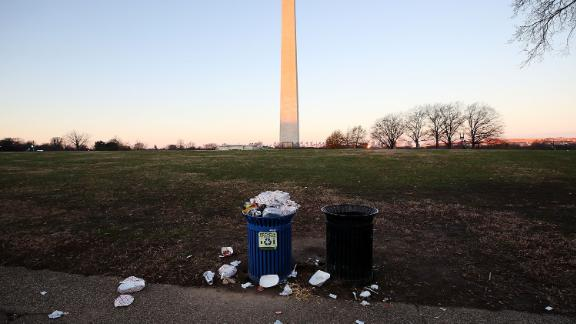 Trash builds up along the National Mall as trash collectors are off work during a partial shutdown of the federal government, on December 23, 2018 in Washington, DC.