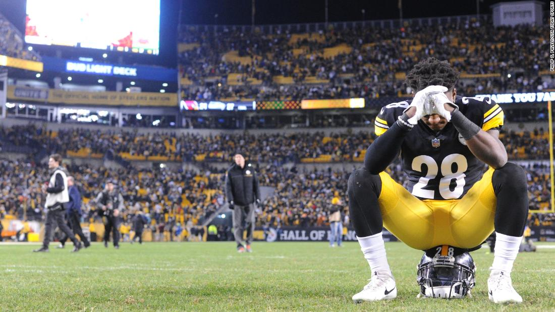 Pittsburgh cornerback Mike Hilton hangs his head after his team's season came to an end on Sunday, December 30. The Steelers won their final game but still missed the playoffs.