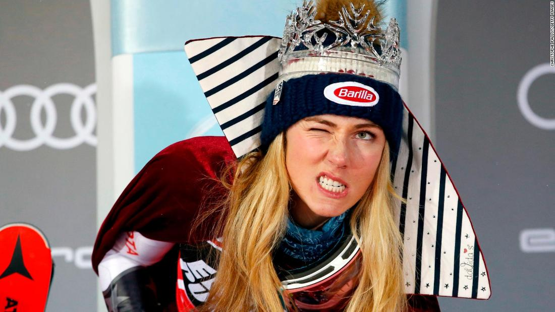 American skier Mikaela Shiffrin celebrates on the podium after winning a World Cup slalom race in Zagreb, Croatia, on Saturday, January 5. It was her fifth slalom win of the season and her seventh win in nine races.