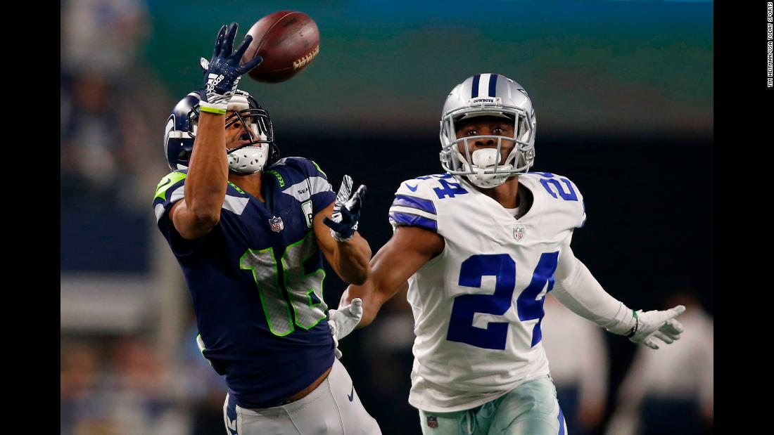 Seattle wide receiver Tyler Lockett catches a pass during the playoff game against Dallas on Saturday, January 5.