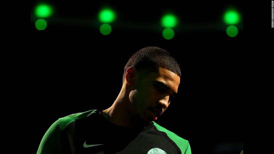 Boston Celtics star Jayson Tatum is introduced before a home game against Minnesota on Wednesday, January 2.