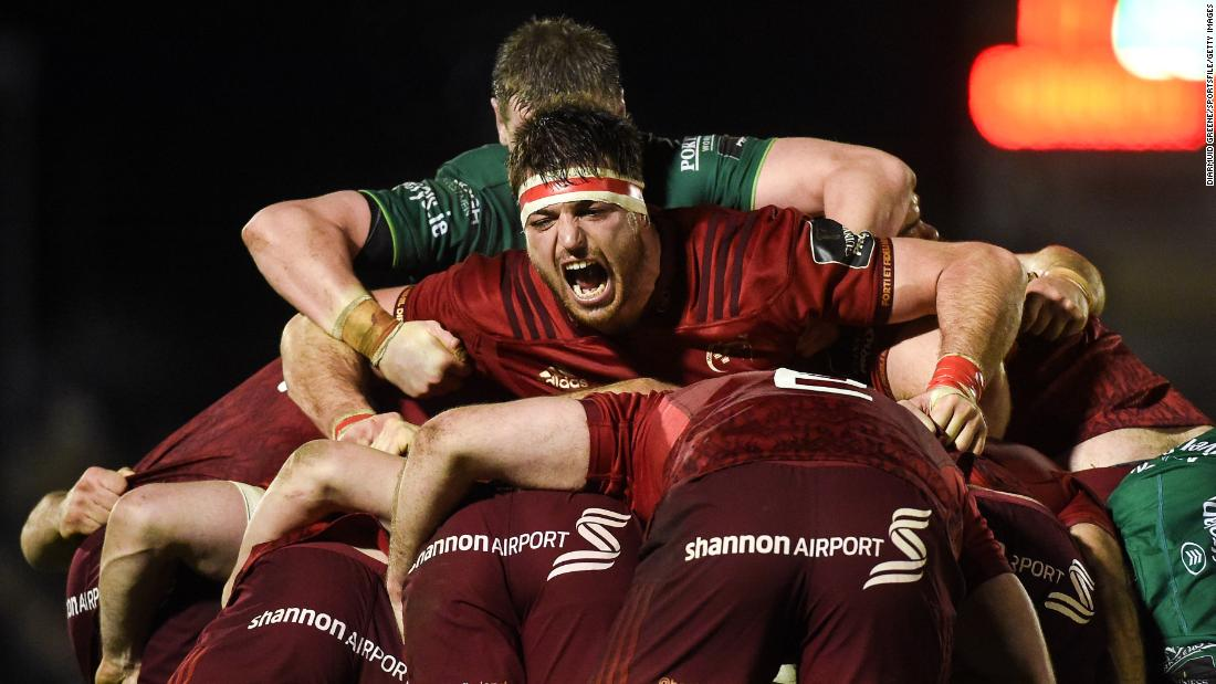 Munster's Jean Kleyn competes in a rugby maul during a match in Galway, Ireland, on Saturday, January 5.