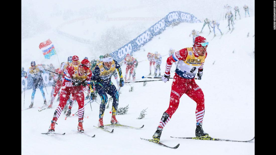 Andrey Melnichenko, a cross-country skier from Russia, leads the pack during a World Cup race in Oberstdorf, Germany, on Wednesday, January 2.