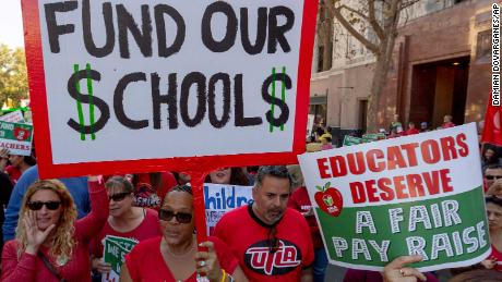 Teachers protest at a rally next to the Broad Museum in Los Angeles on December 15.