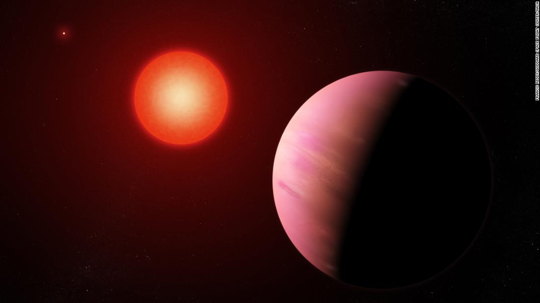 This artist's illustration shows newly discovered exoplanet K2-288Bb, 226 light-years away and half the size of Neptune. It orbits the fainter member of a pair of cool M-type stars every 31.3 days.