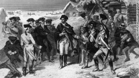 George Washington and his army make camp at Valley Forge in Pennsylvania during the winter of 1777 - 1778.