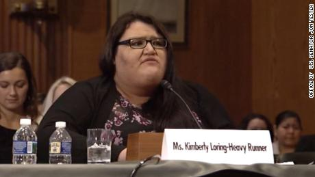 Kimberly Loring-Heavy Runner speaks at a Senate committee hearing in December about her sister Ashley, who went missing in 2017 and has yet to be found.