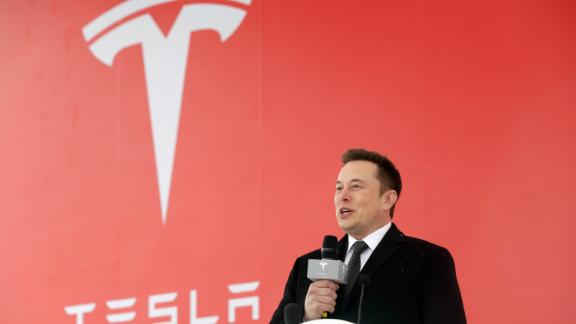 Elon Musk, chief executive officer of Tesla Inc., speaks during an event at the site of the company